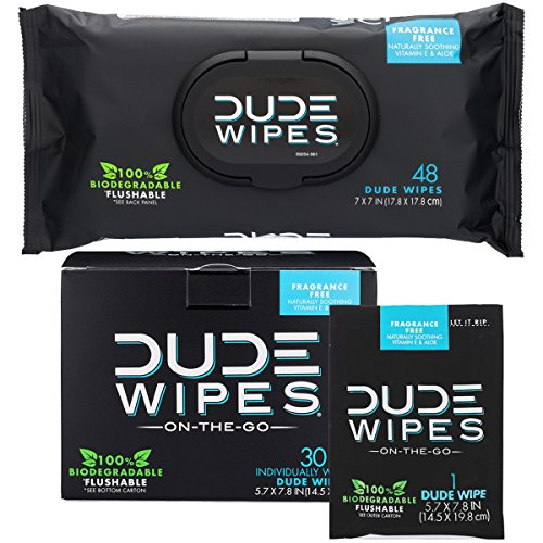 DUDE Wipes Flushable Wet Wipes (48 Count Dispenser and 30 Single Wipes) Individually Wrapped & Dispenser Natural Unscented with Vitamin-E & Aloe 100% - Natural Biodegradable Wipes