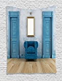 Ambesonne Antique Decor Tapestry, Empty Room With Two Doors Armchair And Simple Mirror With Golden Color Frame, Bedroom Living Room Dorm Decor, 40 W x 60 L Inches