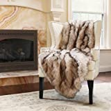 "Best Home Fashion Faux Fur Throw - Lap Blanket - Champagne Fox - 58""W x 36""L - (1 Throw)"