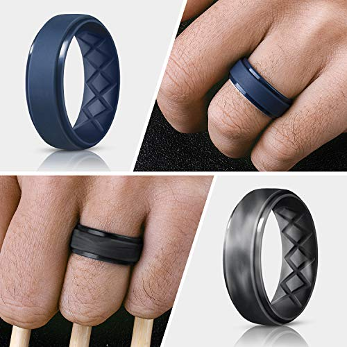 Silicone Rings Mens with Half Sizes,7 Rings 1 Ring Rubber Wedding Bands 4 Rings Egnaro Inner Arc Ergonomic Breathable Design