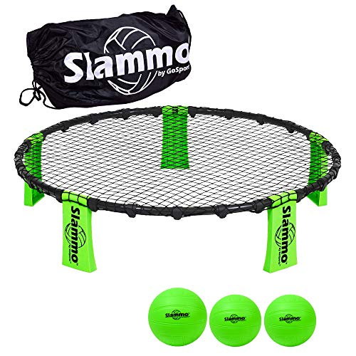 GoSports Slammo Game Set (Includes 3 Balls, Carrying Case and Rules) – Outdoor Lawn, Beach & Tailgating Roundnet Game…