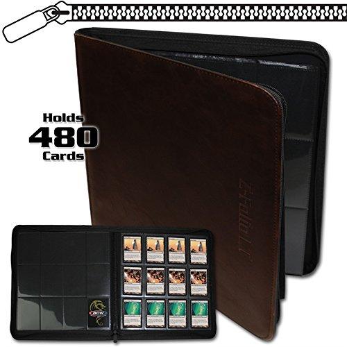 BCW Z-Folio LX Zipper Portfolio Brown 12 Pocket Playset Album Faux Leather