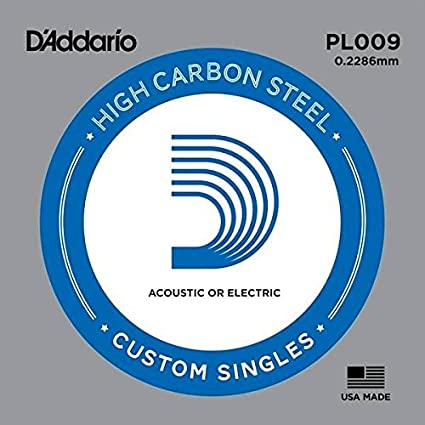 Cuerda D Addario para guitarra eléctrica o acústica simple Plain Steel 09 PL009