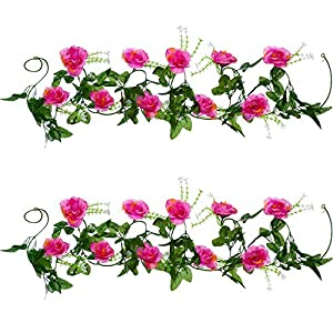 Well Love Artificial Flower Rose Vine Garland 8FT/Piece for Home Kitchen Wedding Party Garden Festival Office Outdoor Hanging Arch DIY Craft Art Decor Rhododendron Red Gift Set 1