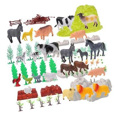 Pack of 100 Plastic Farm Animal Model Horse Cow Sheep Tree Party Bag Fillers by uptogethertek