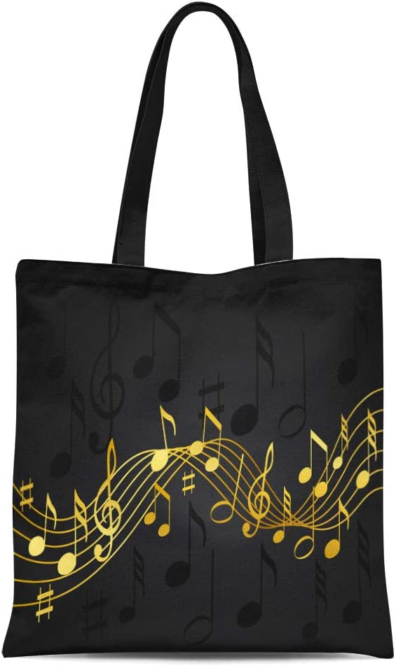 Semtomn Cotton Canvas Tote Bag Pattern of Sheet Music and Different Musical Toys Guitar Reusable Shoulder Grocery Shopping Bags Handbag Printed