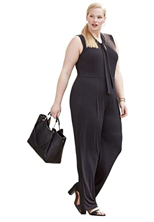 068ae56599a Jessica London Women s Plus Size Stretch Wide-Leg Jumpsuit - Black