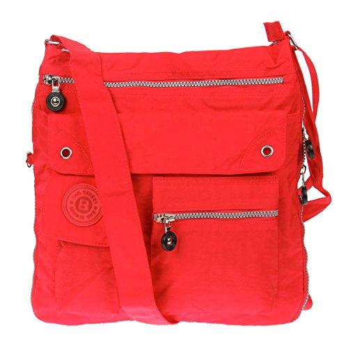 Bag Street - Bolso cruzados de nailon para mujer rojo