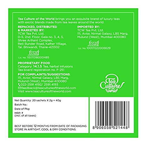 034c727b0b8 TCW Tea Culture of The World Detox Tea - Green Tea - 20 Tea Bags   Amazon.in  Grocery   Gourmet Foods