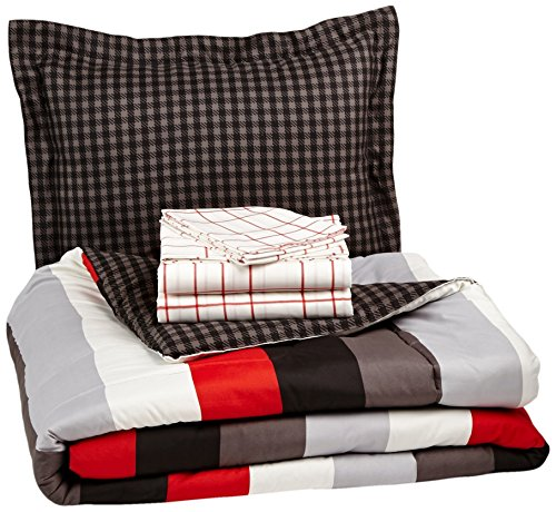 AmazonBasics 5-Piece Bed-In-A-Bag Comforter Bedding Set - Twin or Twin XL, Red Simple Stripe ()