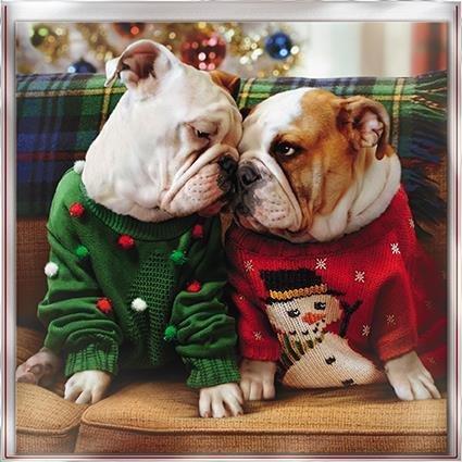 Cartes de vœux de Noël (Gbcc1520)–Merry Kissmas–2chiens portant sauteurs–Boîte de 12cartes–1Motif
