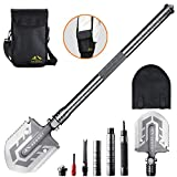 BESROY Camping Shovel - Portable Military Folding Shovel with Tactical Waist Pack & Multi-Tools for Camping, Outdoor Survival, Hiking, Hunting, Fishing, Expedition,Gardening, Car Emergency