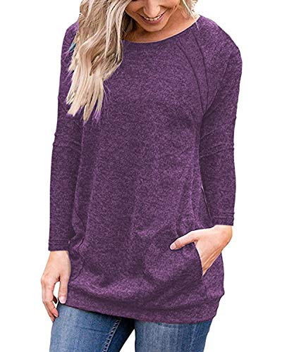 DJT Womens Soft Color Block Casual T Shirts Pockets Blouse Tunic Tops