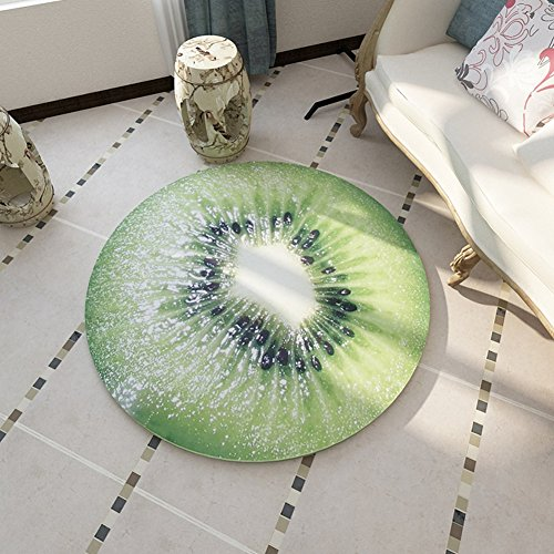 - Eanpet Round Rug Fruit Printed Mat Area Rug for Kids Soft Floor Carpets Indoor Outdoor for Nursery Bedroom Kids Room Chair Mat - Kiwi Fruit