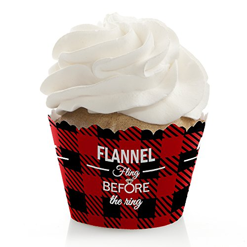 Flannel Fling Before The Ring - Buffalo Plaid Bachelorette Party Cupcake Wrappers - Set of (Cupcake Flannel)