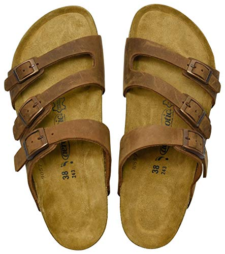 AEROTHOTIC - Genuine Suede Leather and Cork Footbed Sandals for Women (US-Women-10, Maiden Brown)