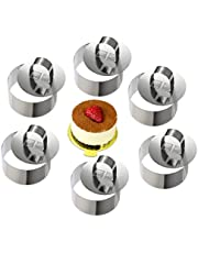 ONEDONE Cake Molds Stainless Steel Cake Rings Pastry Rings Cake Mousse Mold with Pusher,3.15in Diameter, Set of 6 (Round)