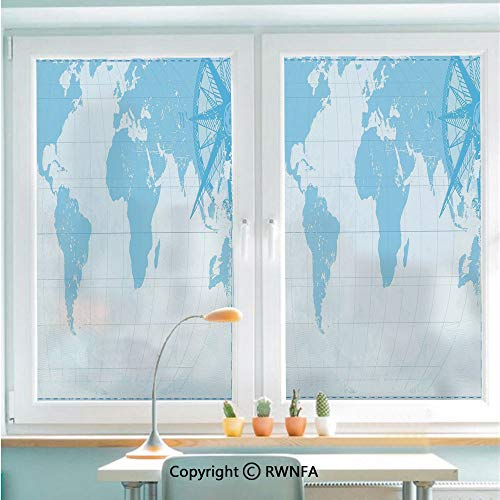 Removable Static Decorative Privacy Window Films Blue Grunge Background with Vintage World Map and Retro Compass Cartography Exploration for Glass (22.8In. by 35.4In),Light Blue