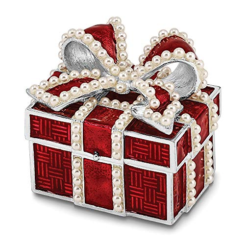 Giftware Box - Jere Luxury Giftware Bejeweled Excitement Faux Pearl Red Gift Box, Pewter with Enamel Collectible Trinket Box with Matching Pendant Necklace