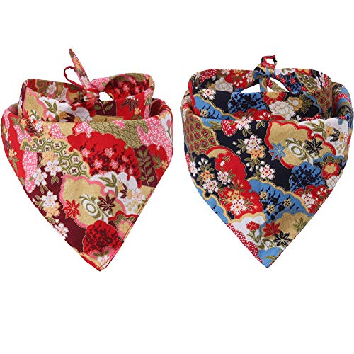 - KZHAREEN 2 Pack Dog Bandanas Triangle Bibs Scarf Accessories Japanese Style