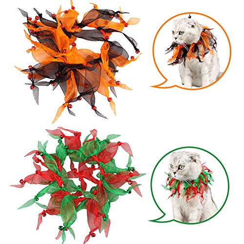 Creation Core 2PCS Christmas Pom Pom Decorative Cat Dog Collars Jingle Bells for Party Birthday Festival Ornaments
