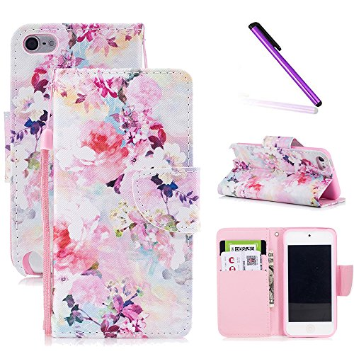 Touch Folio - iPod Touch 6th Case,iPod Touch 5th Case,LEECOCO Fancy Print Floral Wallet Case with Card / Cash Slots [Kickstand] PU Leather Folio Flip Protective Case Cover for iPod Touch 6th / 5th Ink Flowers HX