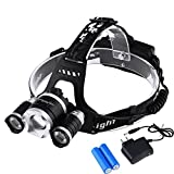 #3: LED Headlamp Headlight Flashlight - Zoomable Super Bright , 4 Modes 3 XM-L CREE T6 LED, Rechargeable Batteries, Adjustable - Outdoor Hiking Camping Riding Fishing Hunting