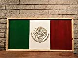Charred Mexican flag wall hanging sign