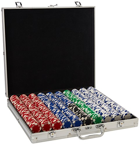 Trademark Poker 1000 Holdem Poker Chip Set with Aluminum Case, 11.5gm