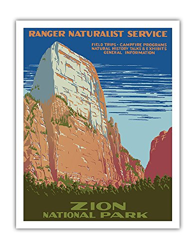 Zion National Park - Great White Throne Mountain - Ranger Naturalist Service - Vintage World Travel Poster by Work Projects Administration (WPA) c.1938 - Fine Art Print - 11in x 14in