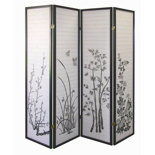 Amazon Com Ore International Black 4 Panel Bamboo Floral Room Divider Screen Kitchen Dining