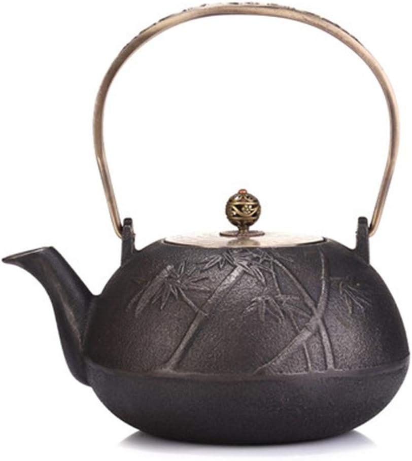 急須 鉄瓶 鋳鉄ティーポット日本の鉄鍋南部の手作りの鉄鍋鋳鉄ティーポットは茶の鉄釜コーティングされていない内部ボイルド 結婚式引越し祝いギフト (色 : Black1, サイズ : 1200ml)