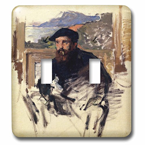 1884 Portrait Portrait (3dRose lsp_179216_2 Self Portrait in His Atelier, Claude Monet Painting Dated 1884, Pd-Us Double Toggle Switch)