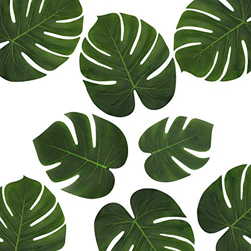 36Pcs Tropical Leaves, Silk Fabric Palm Leaves, Small Medium Large(6'' 8'' and 14''), Hawaii Luau Jungle Beach Party Supplies Table -