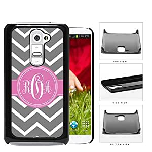 Gray And White Chevron With Pink Monogram (Custom Initials) Hard Plastic Snap On Cell Phone Case LG G2
