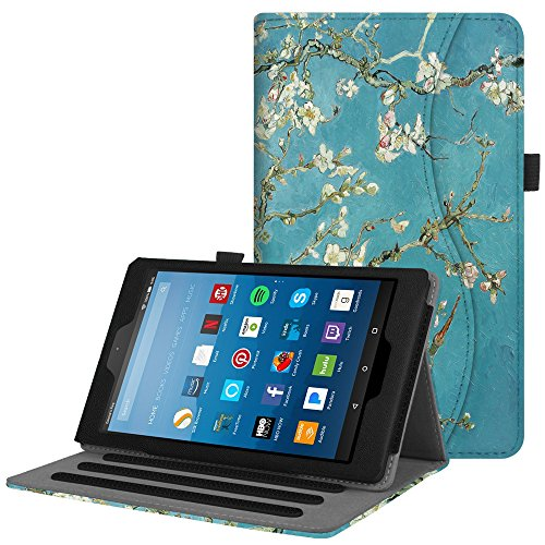Fintie Case for All-New Amazon Fire HD 8 Tablet (7th and 8th Generation Tablets, 2017 and 2018 Releases) - [Multi-Angle Viewing] Folio Stand Cover with Pocket Auto Wake/Sleep, Blossom