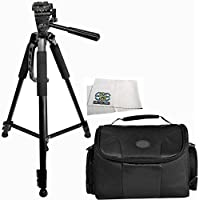 Professional 60-inch Tripod 3-way Panhead Tilt Motion with Built In Bubble Leveling + Carrying Case for Canon, Nikon, Sony, Pentax, Sigma, Fuji, Olympus, Panasonic, JVC, Samsung Cameras