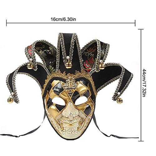 cherrysong Exquisite High-end Masquerade Mask, Venetian Swan Masquerade Mask with Bell, Christmas Masquerade Party Mask