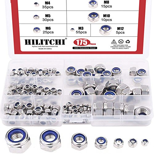Hilitchi 175-Piece Stainless Steel Nylon Lock Nut Assortment Kit, Size Include: M3 M4 M5 M6 M8 M10 M12 (Lock Nuts) by Hilitchi
