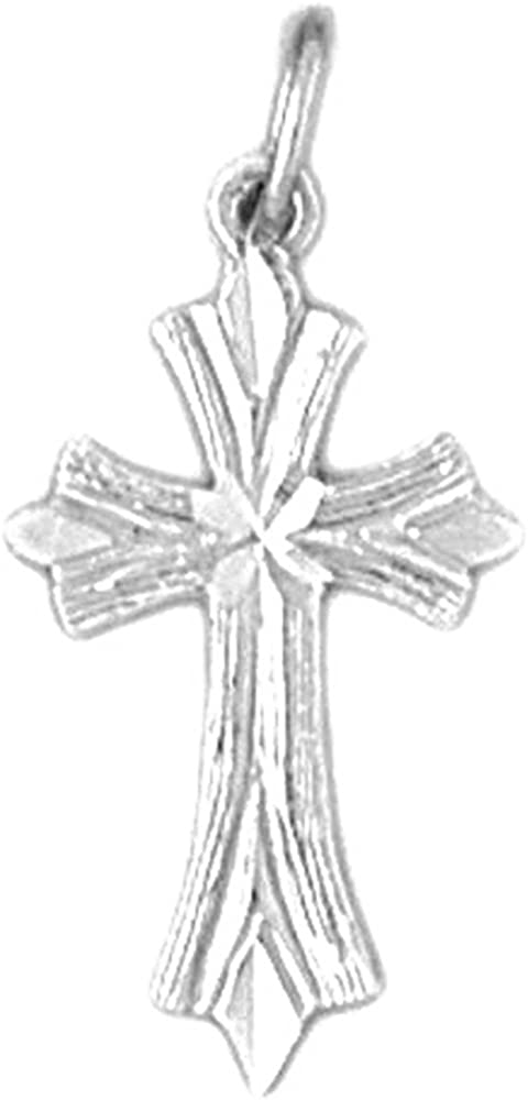 Jewels Obsession Budded Cross Charm Pendant 23 mm 14K Yellow Gold Budded Cross Pendant