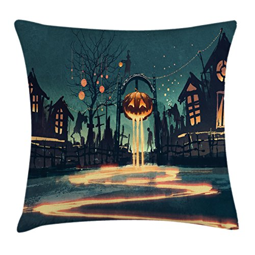 Fantasy Art House Decor Throw Pillow Cushion Cover by Ambesonne, Halloween Theme Night Pumpkin and Haunted House Ghost Town Artful, Decorative Square Accent Pillow Case, 16 X 16 Inches, Teal (Ghost Town Halloween Party Ideas)