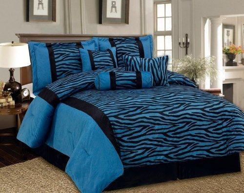 King 7 Piece Bedding Soft Short Fur Comforter Set Black /...