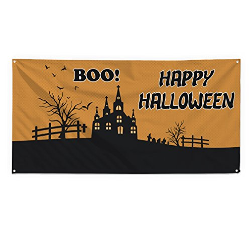 (Boo! Happy Halloween Outdoor Fence Sign Vinyl Windproof Mesh Banner With Grommets - 2ftx3ft, 4)