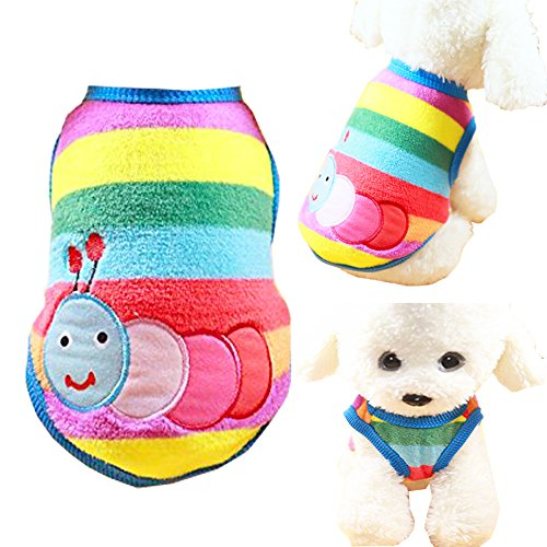 Pet Shirt Soft Dog Clothes Rainbow Caterpillar Theme Cute Cat Coats Dog Pajamas Small Puppy Shirt Sweater ()