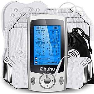 Unité TENS EMS indépendante à double canal améliorée par Ohuhu, 20 modes de massage Stimulateur musculaire rechargeable…