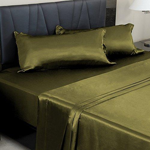 50%OFF Forever Bedding Ultra Soft Luxurious Deep Pocket 3-Piece Satin Sheet set, (King, Green)