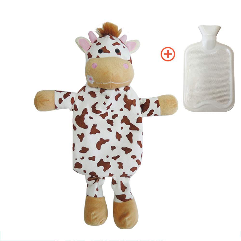 ZDYLL Schöne Wärmflasche mit Abnehmbaren Weichen Plüsch Animal Cover Piggy Zebra Bär Handwärmer Wasser Füllung Hot Water Bag