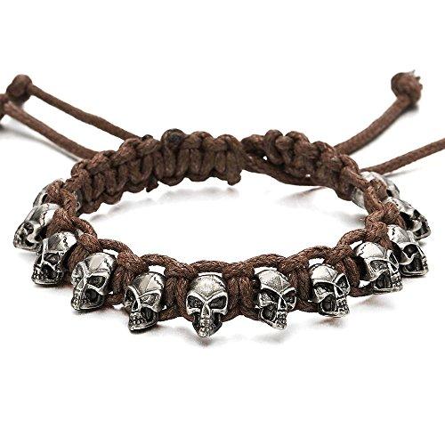 Skulls Braided Bracelet Wristband Adjustable