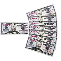 GoodOffer 50 Dollars Play Money - Realistic Prop Money 100 pcs. - Total of $5,000 Copy Money with Two Sides for Pranks, Games, Monopoly - Educational Play Money for Kids - Prop Fifty Dollar Bills