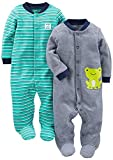 Simple Joys by Carter's Boys' 2-Pack Cotton Footed Sleep and Play, Navy/ Turquoise Stripe, 3-6 Months